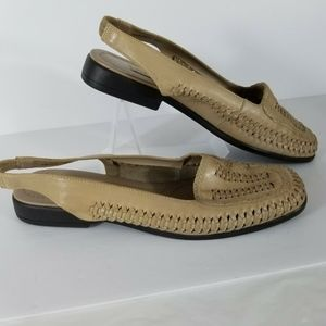 CARRIAGE COURT tan leather woven slingback size 8